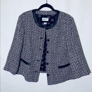 Pendleton black/white tweed blazer w leather, 14W